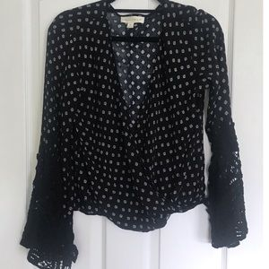 NWOT Lovestitch top with crocheted bell sleeves